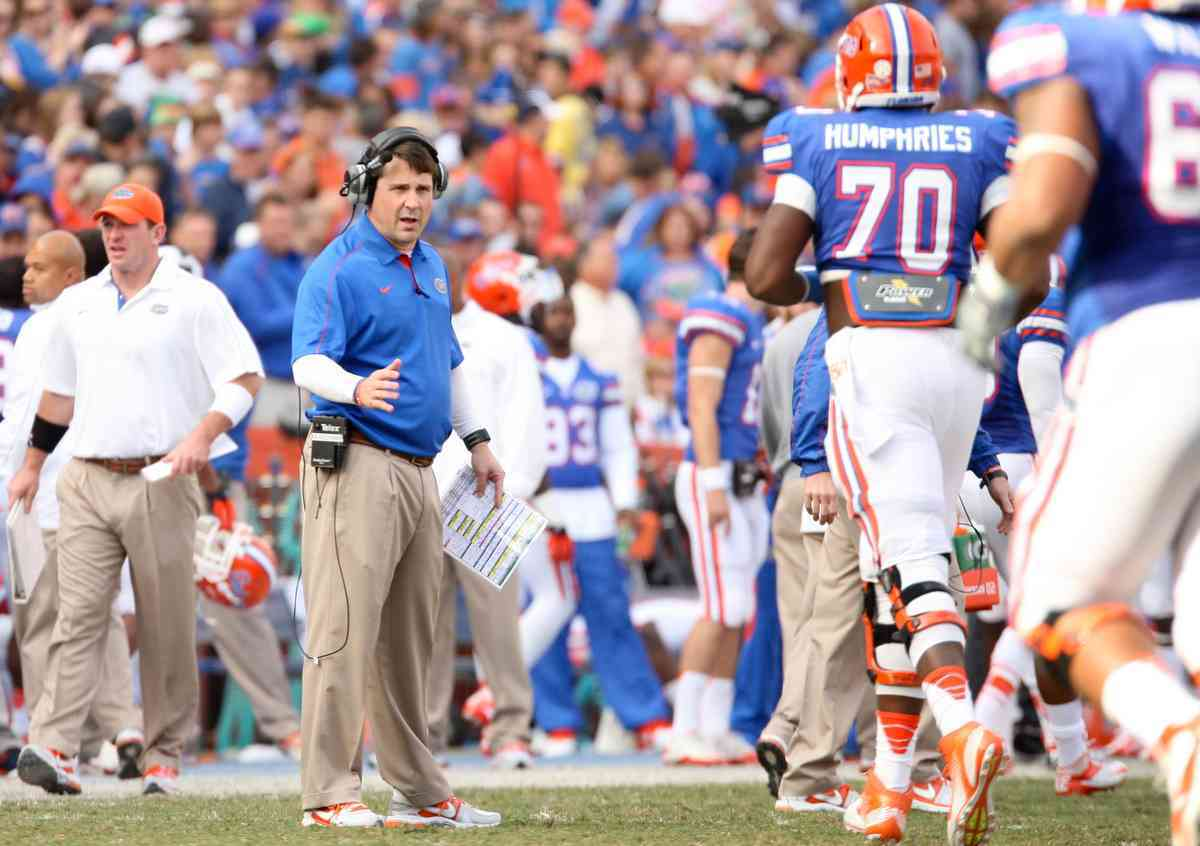 Breaking from his usual no-nonsense approach, Will Muschamp allows his team to switch jerseys on Thursdays each week. / Gator Country file photo by Curtiss Bryant