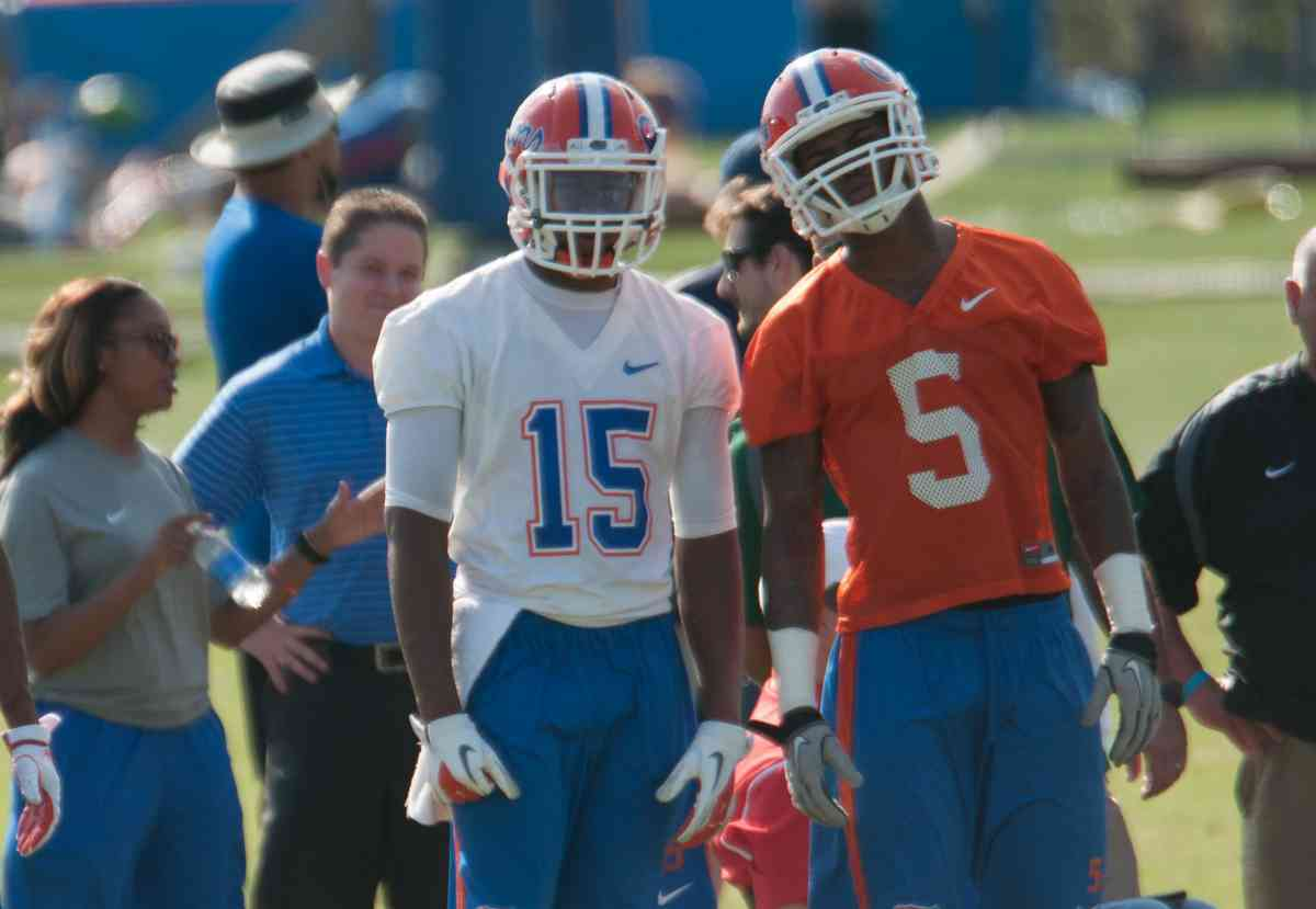Florida cornerbacks Loucheiz Purifoy and Marcus Roberson have a combined 17 pass breakups for the Gators this season. / Gator Country file photo by Saj Guevara