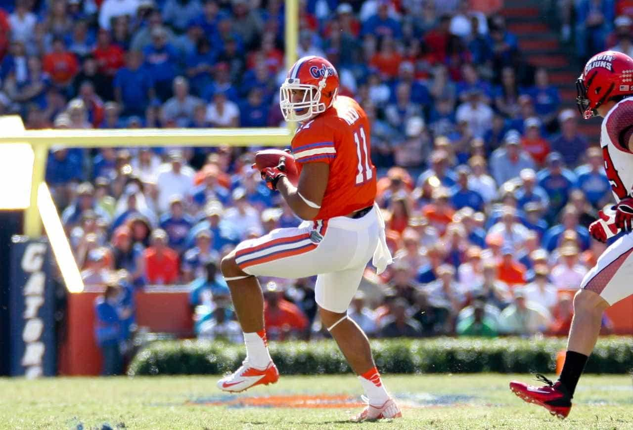 Former Florida tight end Jordan Reed hauled in 45 passes for 559 yards and three touchdowns in his final season. / Gator Country photo by Curtiss Bryant