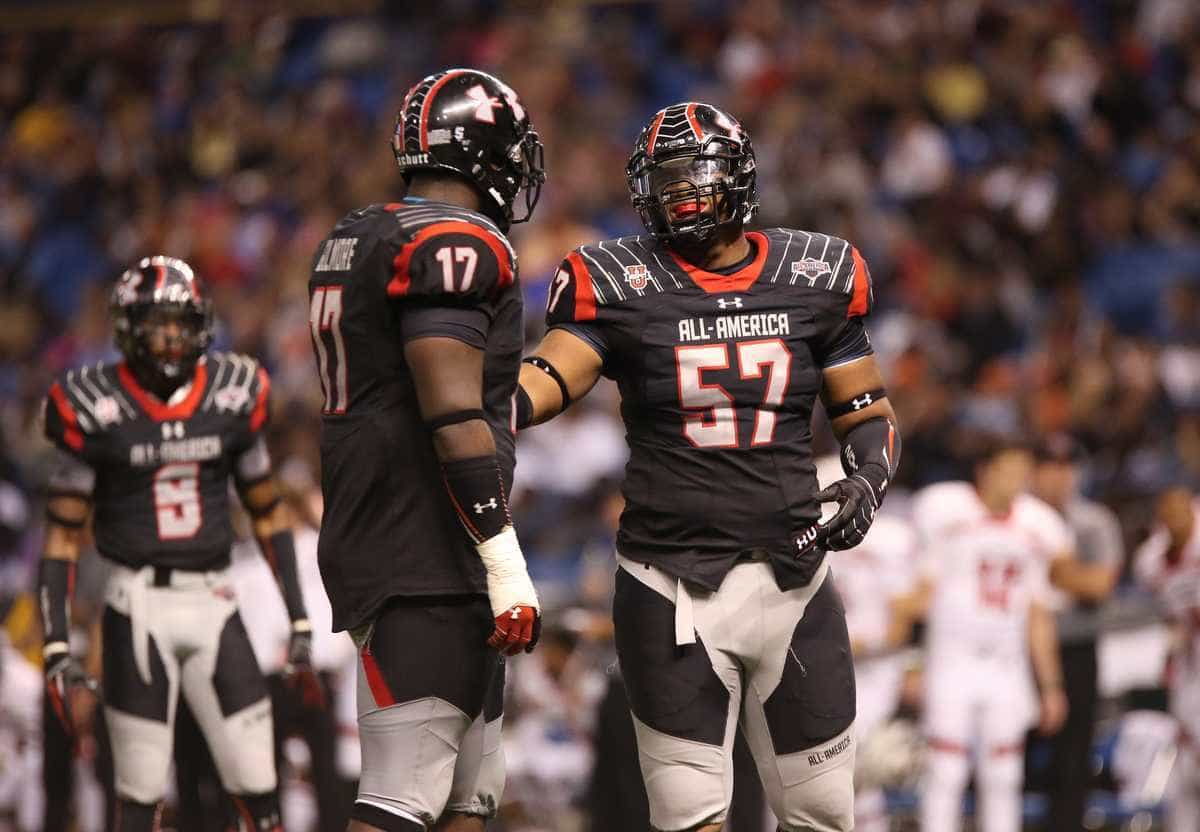 Defensive tackles Caleb Brantley (47) and Greg Gilmore (17) played for Team Highlight during the Under Armour All-America Game on Jan. 4. / Gator Country photo by Curtiss Bryant