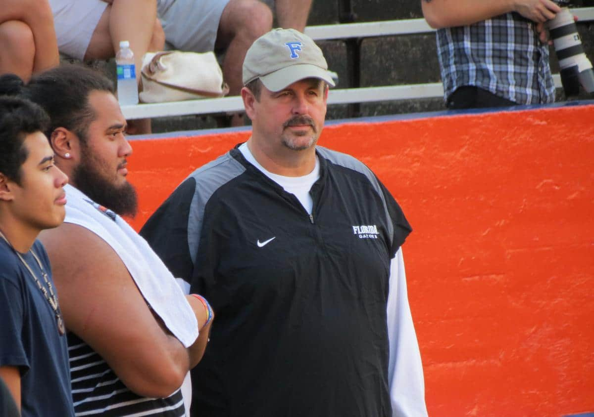 Florida offensive line coach Tim Davis visited two in-state prospects with UF coach Will Muschamp on Wednesday. / Gator Country file photo by Mike Capshaw