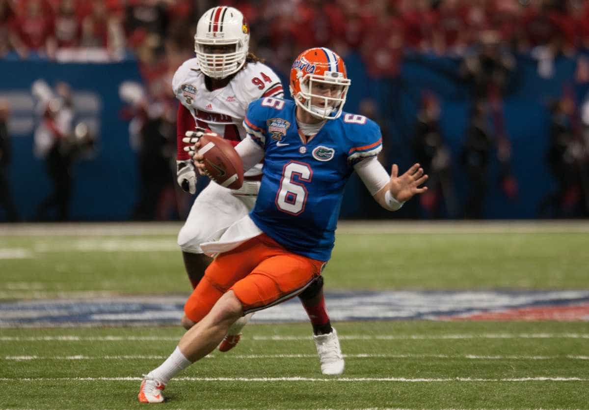 Florida quarterback Jeff Driskel had a rocky finish to his sophomore season with three turnovers in the Gators' 33-23 loss to Louisville on Wednesday. / Gator Country photo by Saj Guevara