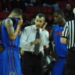 Florida coach Billy Donovan watched his team surrender a 13-point advantage in the second half of the Gators' 63-60 loss at Missouri on Tuesday. / Gator Country photo by Sonny Kennedy