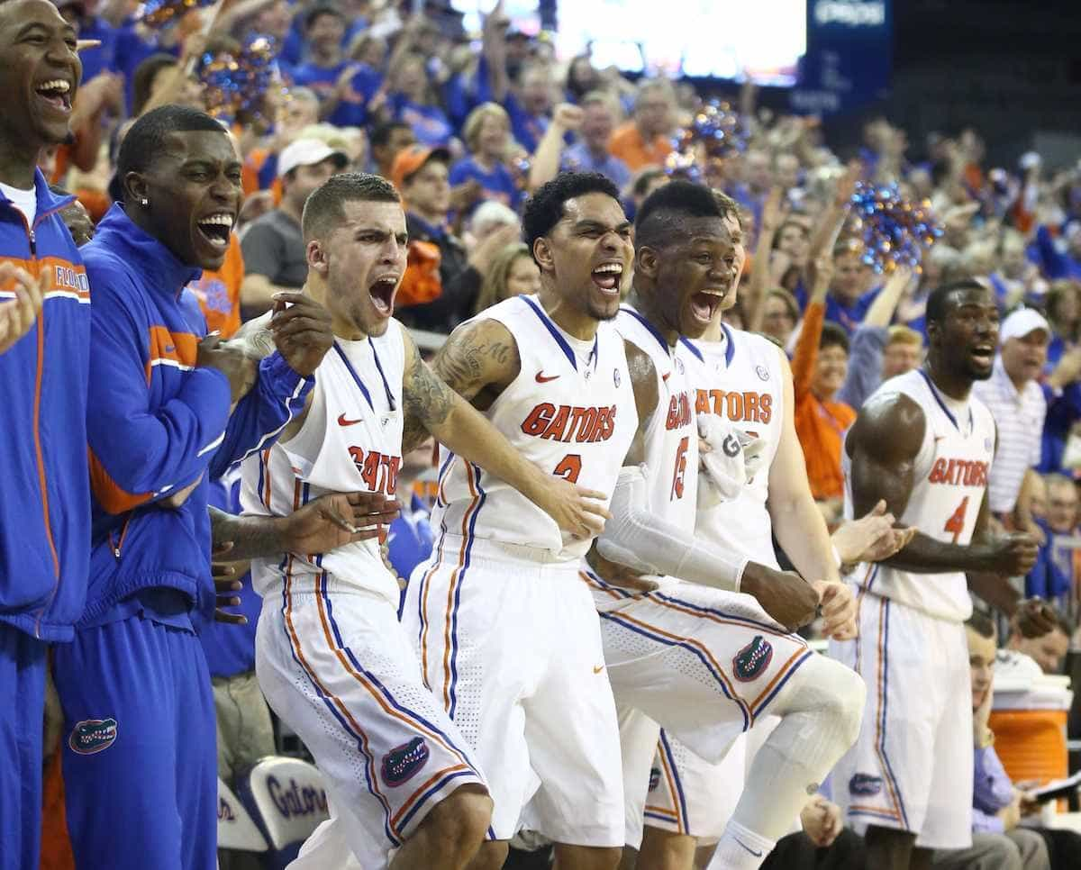 Florida's bench reacts to a Jacob Kurtz moment / Gator Country photo by Curtiss Bryant