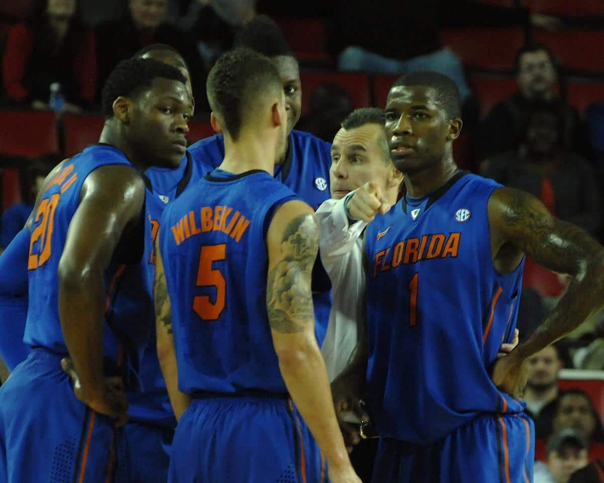 Billy Donovan makes a point during a timeout during a 17-point win at Georgia last Thursday. / Gator Country photo by Sonny Kennedy