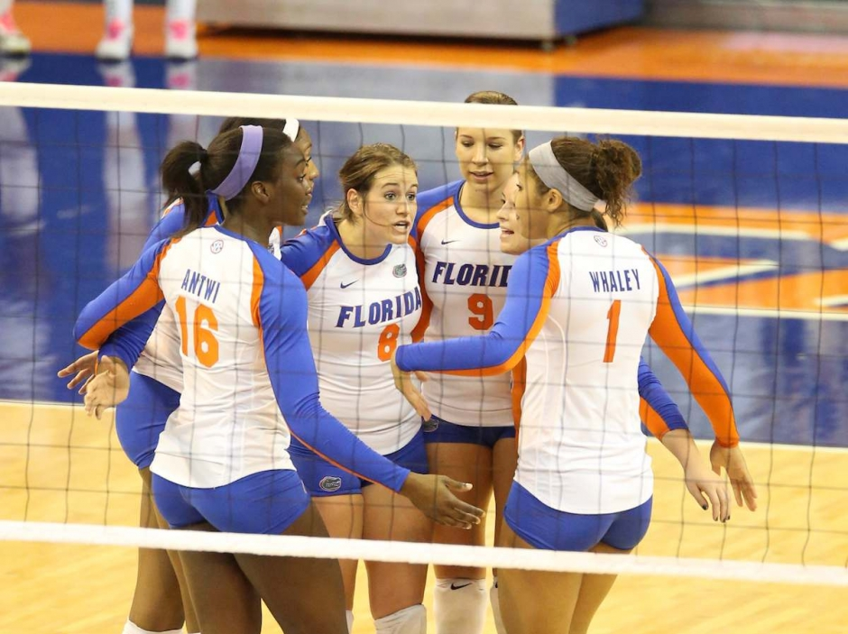 Florida Gators Volleyball Team Playing a Match in the Stephen C. O'Connell Center-Florida Gators Volleyball-1200x897