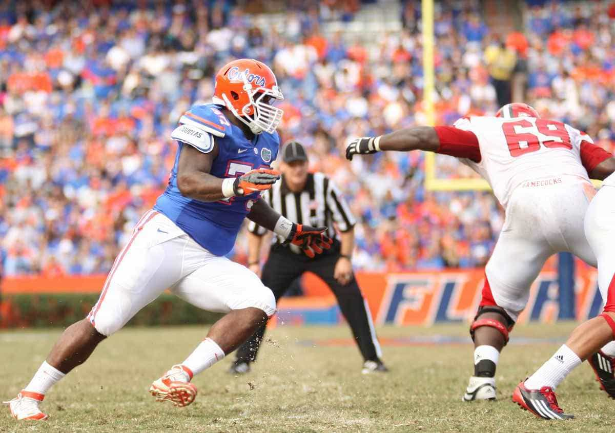 Florida junior defensive tackle Sharrif Floyd was tied for second on the team with three sacks this season. / Gator Country photo by Curtiss Bryant