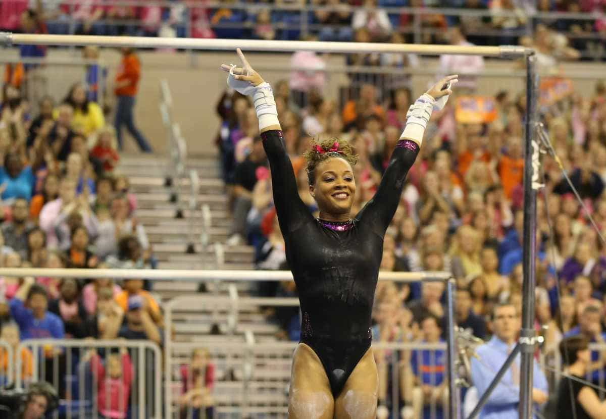 Kytra Hunter scored a 9.950 on floor exercise as the Gators rallied to tie Oklahoma for the NCAA gymnastics title  / Gator Country photo by John Parady