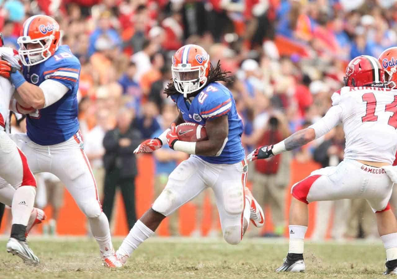 Matt Jones runs through an opening in a 23-0 home win against Louisiana-Lafayette on Nov. 17, 2012. / Gator Country photo by Curtiss Bryant