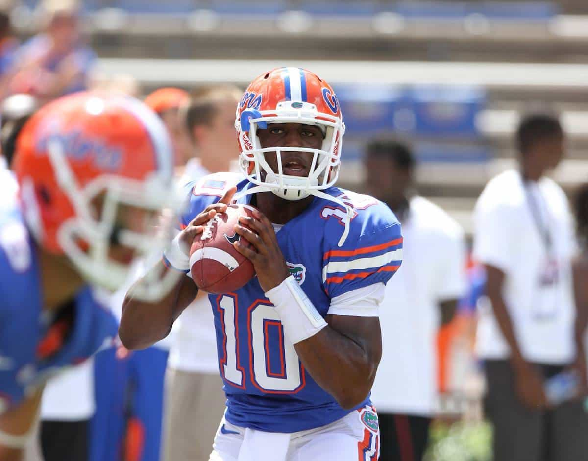 Florida Gators reserve quarterback Tyler Murphy throws passes during pre-game warmups earlier this season. / Gator Country photo by Wes Hall