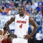 Patric Young came up with the critical block in the final minute of the game to help the Gators get past Auburn  / Gator Country file photo by Curtiss Bryant