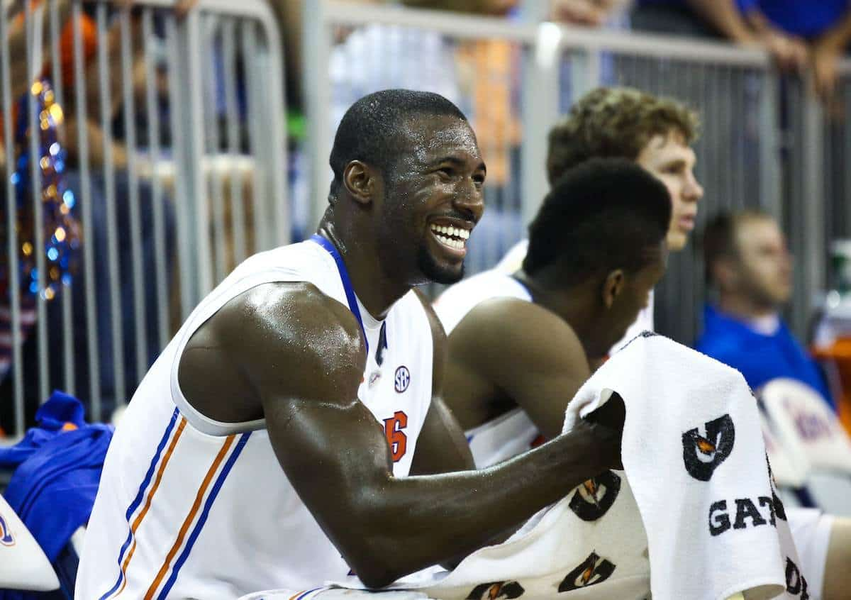 Patric Young was responsible for dumping a bucket of water over Billy Donovan's head after win No. 400. / Gator Country file photo by Curtiss Bryant