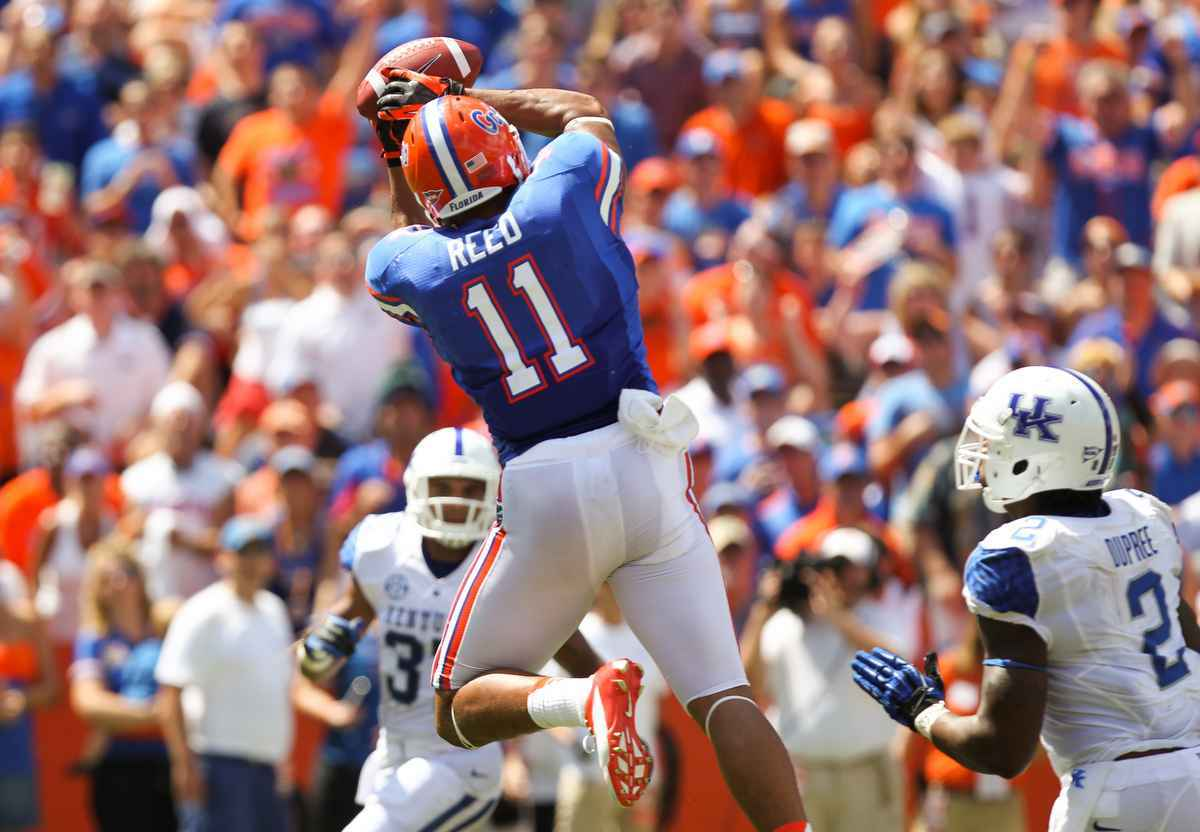 Gators junior tight end Jordan Reed led Florida with 45 receptions for 559 yards and three touchdowns this season. / Gator Country photo by Curtiss Bryant