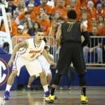 Florida guard Scottie Wilbekin defend's Missouri's Phil Pressey during the Gators' 83-52 home win against the Tigers last season / Gator Country photo by Curtiss Bryant