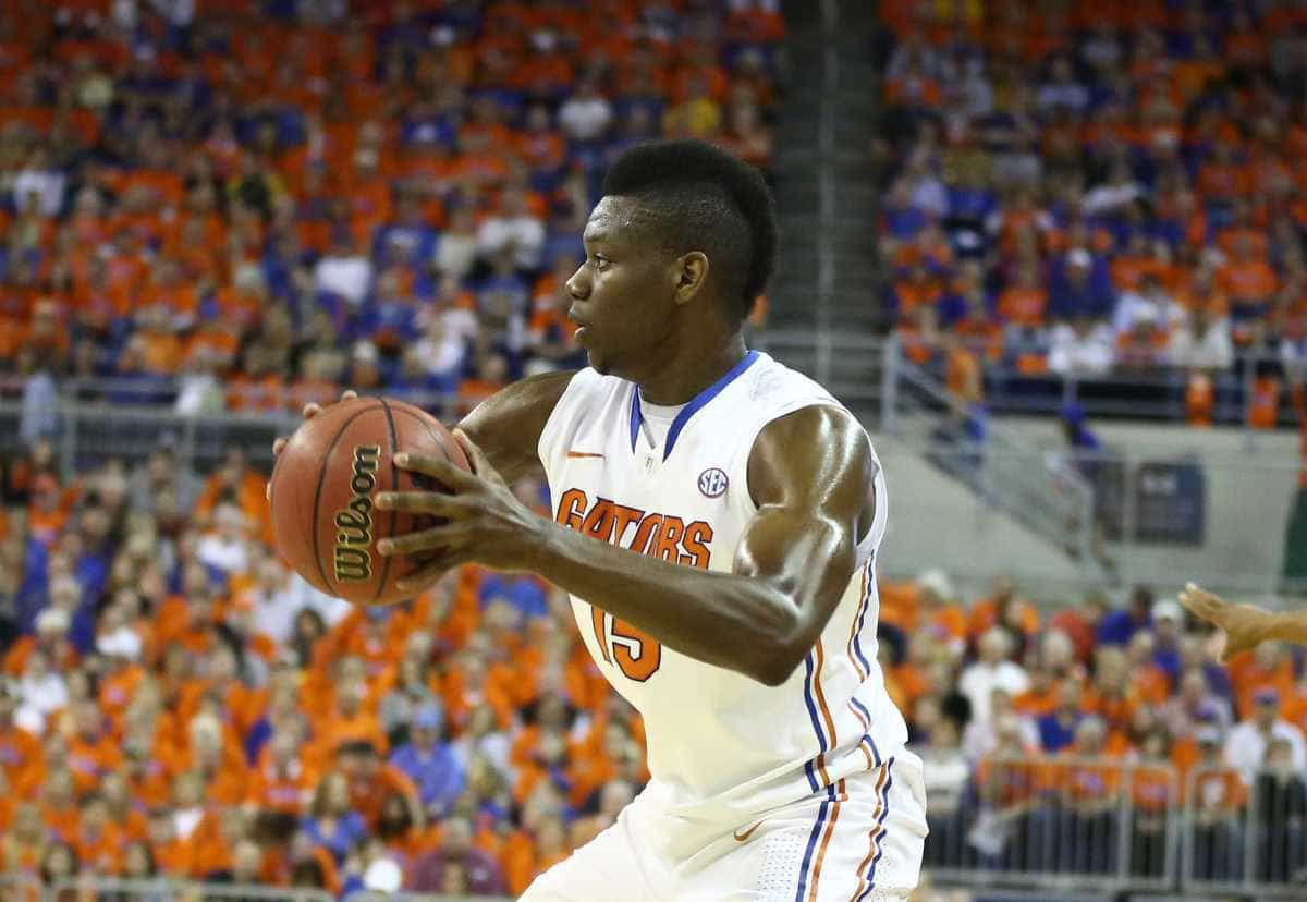 Will Yeguete has knocked down two consecutive three-point shots / Gator Country photo by Curtiss Bryant