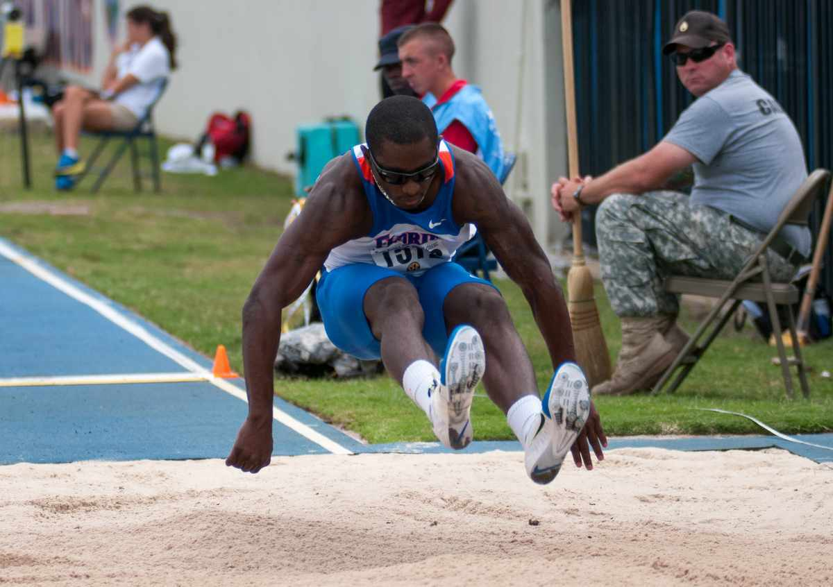 Florida senior Omar Craddock competes in the long jump at the Tom Jones Memorial Classic on April 21 at James G. Pressly Stadium. / Gator Country file photo by Saj Guevara
