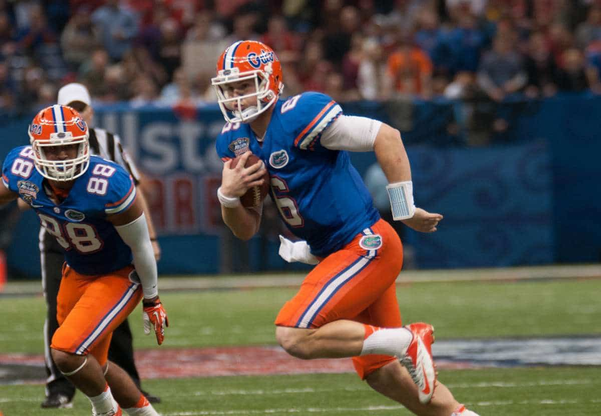 Florida quarterback Jeff Driskel threw a touchdown pass and two interceptions during the Gators' 33-23 loss against Louisville on Jan. 2 in the Sugar Bowl / Gator Country photo by Saj Guevara