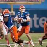 Florida will need to develop a consistent passing game behind second-year starter Jeff Driskel is it is to keep defenses from stacking the box to stop the run next season. / Gator Country photo by Saj Guevara