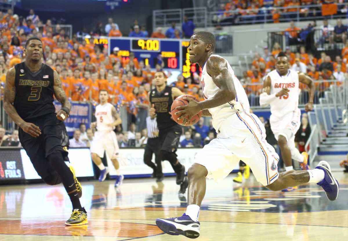 Florida senior guard Kenny Boynton drives to the basket on a fast break during the Gators' 83-52 home win against Missouri on Jan. 19. / Gator Country photo by Curtiss Bryant