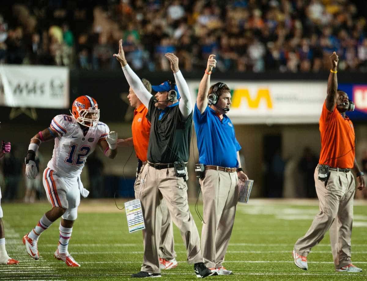 Florida's Dan Quinn (black pullover) and  Will Muschamp were a truly outstanding tandem when they worked together at UF / Gator Country photo by Saj Guevara