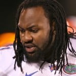 "Brandon Spikes says his time in New England was ""4 years a slave""  / Gator Country file photo by Tim Casey"