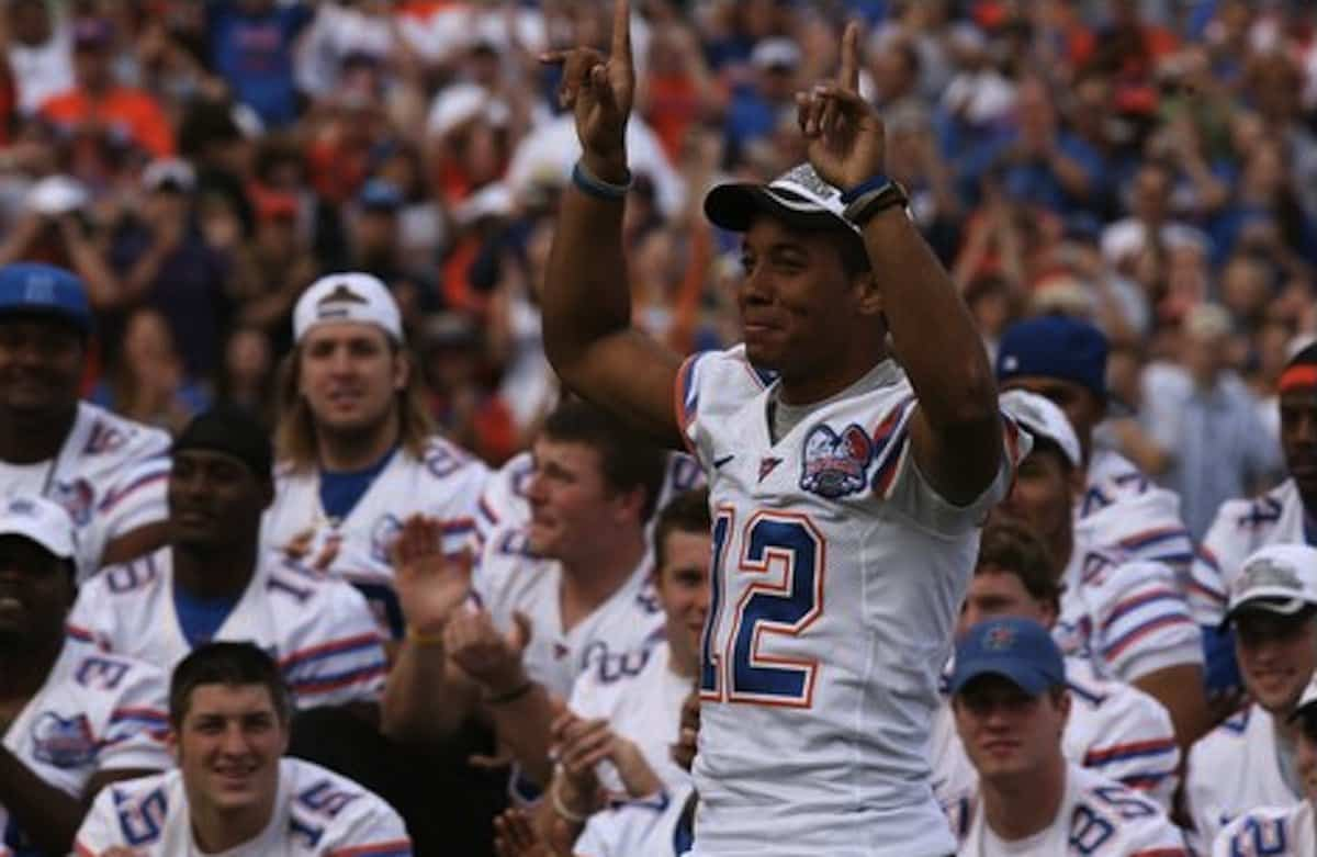 Chris Leak during the 2006 national championship celebration. / Gator Country photo by Tim Casey