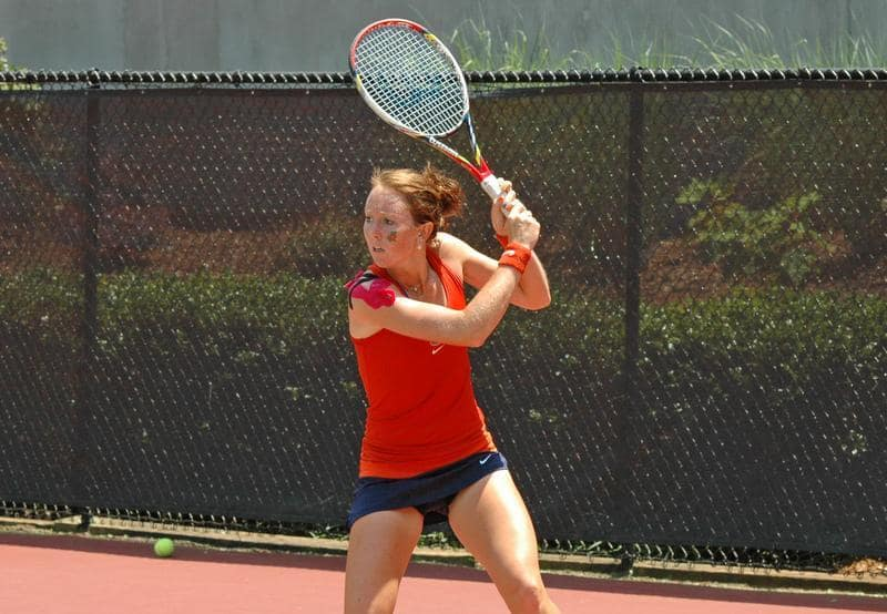 Gators senior Lauren Embree teamed with Sophie Oyen to capture an 8-4 against Duke's seventh-ranked Mary Clayton and Ester Goldfeld. / Gator Country file photo by Jack Lewis