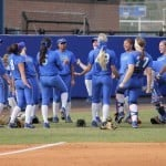 Florida's softball team jokes around during a practice last week. / Photo by Danielle Bloch