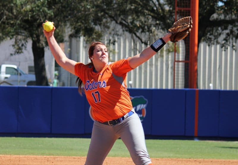 Florida  pitcher Lauren Haeger . / Gator Country photo by Danielle Bloch
