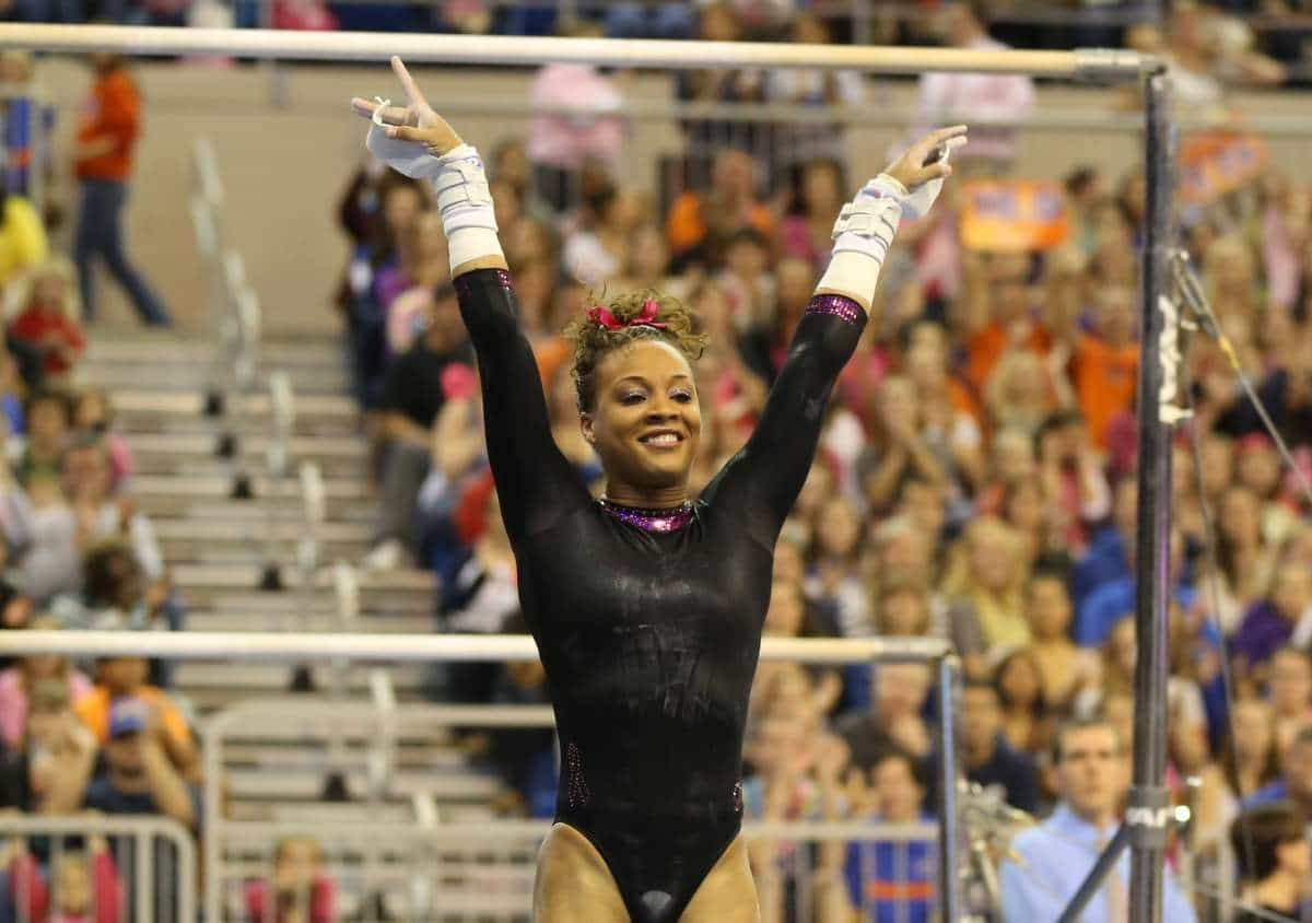 Gators sophomore Kytra Hunter helped Florida sweep the vault against Kentucky with her career-high score of 9.975. / Gator Country photo by John Parady