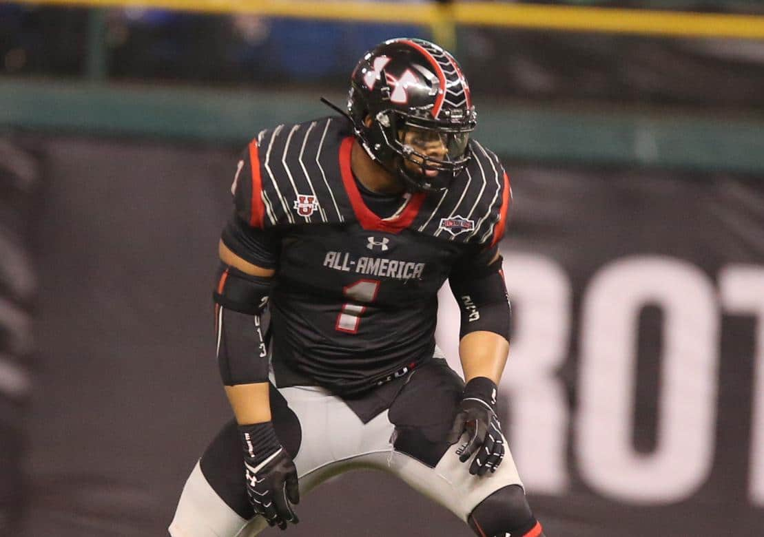 Robert Nkemdiche, the nation's No. 1-rated prospect, lines up at defensive end during the Under Armour All-American Game on Jan. 4 at St. Petersburg, Fla. / Gator Country photo by Curtiss Bryant