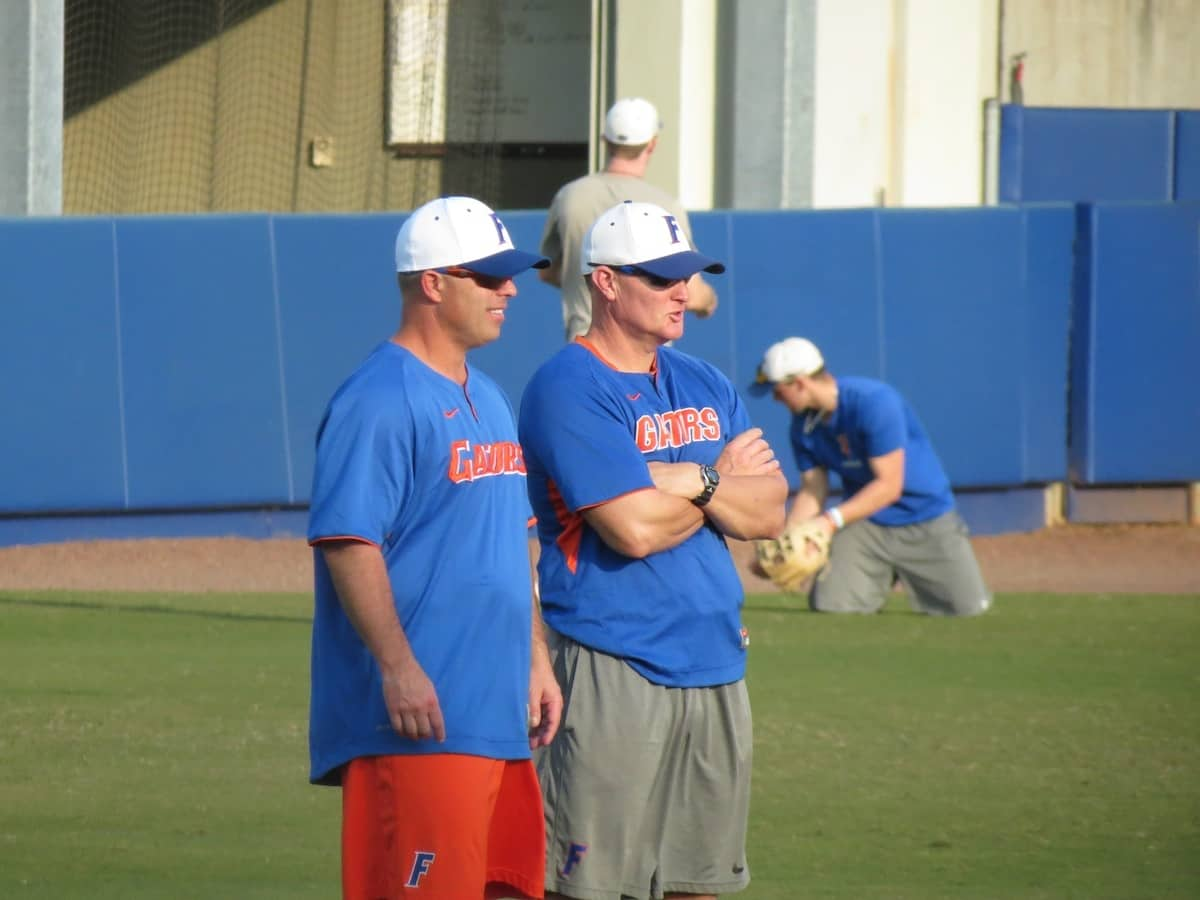 Kevin O'Sullivan watches on as the Gator Baseball team practices.