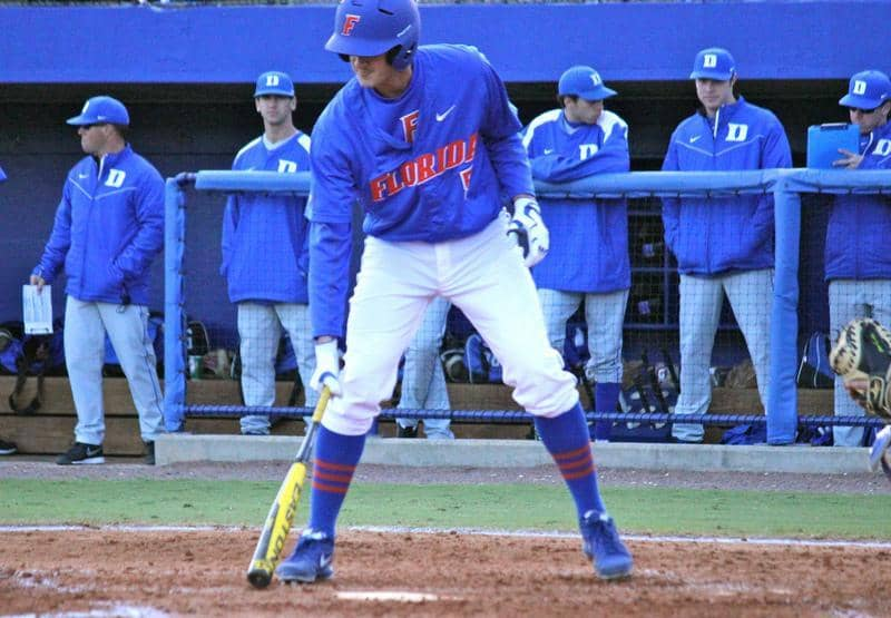 Gators sophomore infielder Zach Powers hit a pair of grand slams Sunday to lead Florida past Duke, 16-5, at home. / Gator Country photo by Danielle Bloch