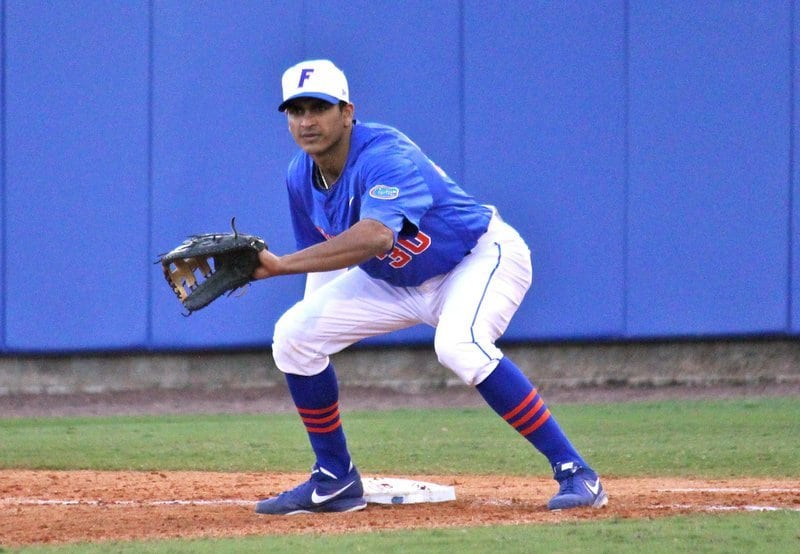 Gators senior Vickash Ramjit went 2-for-5 with an RBI during Florida's 7-4 loss to Florida Gulf Coast on Sunday. / Gator Country photo by Danielle Bloch