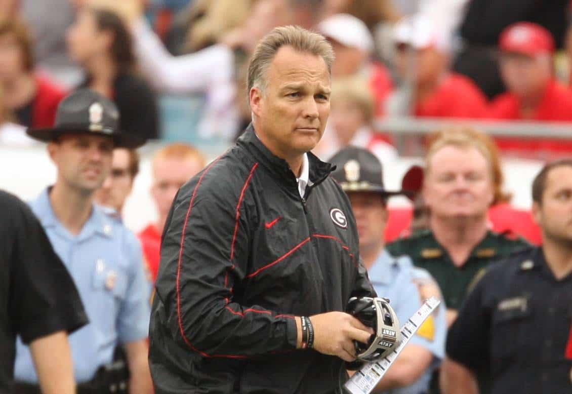 Georgia head coach Mark Richt was hospitalized and underwent hip replacement surgery Saturday, according to reports. / Gator Country photo by Curtiss Bryant