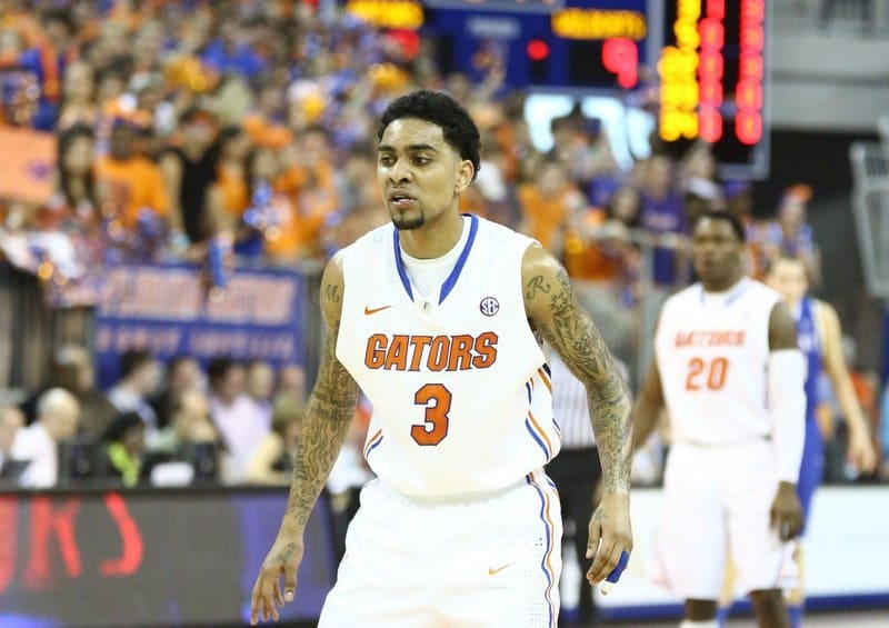 Gators senior guard Mike Rosario is averaging 12.9 points through 23 games played this season. / Gator Country photo by Curtiss Bryant
