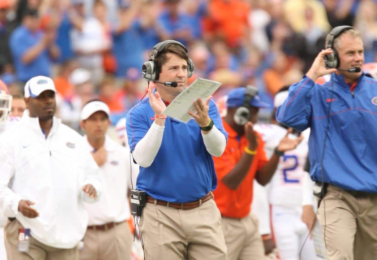 Florida coach Will Muschamp spoke about the importance of signing high-character guys, not just the best players, during his signing day press conference. / Gator Country photo by Wes Hall