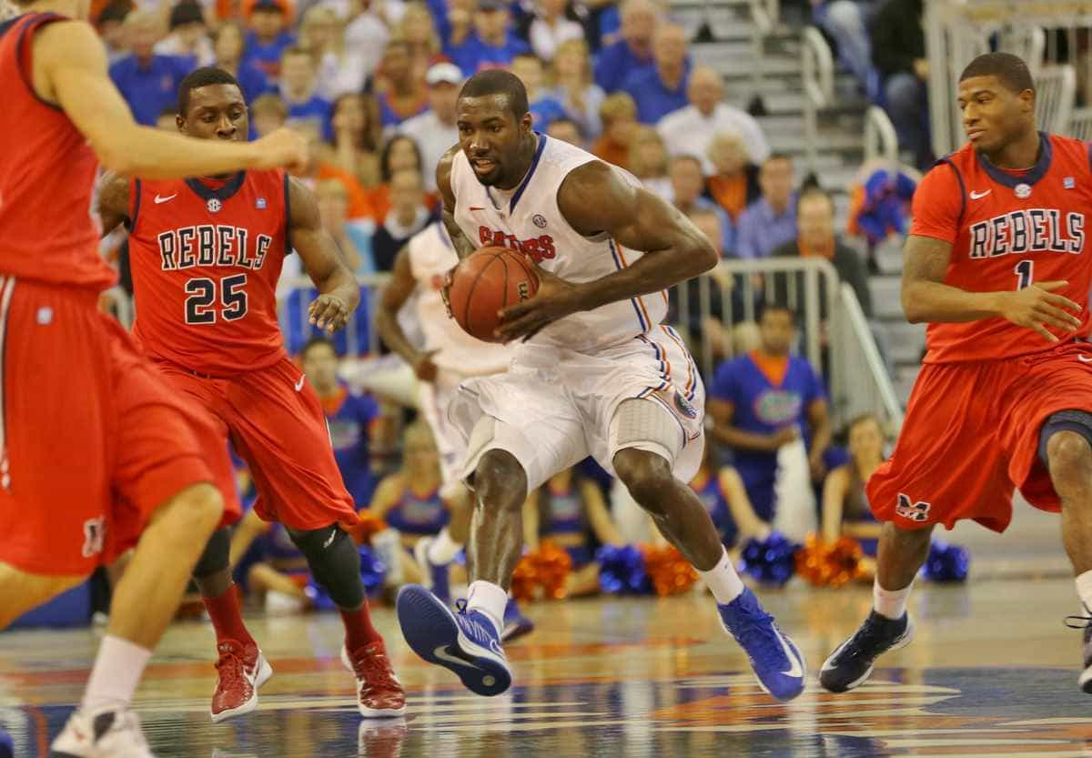 Gators junior center Patric Young scored 13 points and hauled in 12 rebounds during Florida's 78-64 win against Ole Miss last season. / Gator Country photo by John Parady