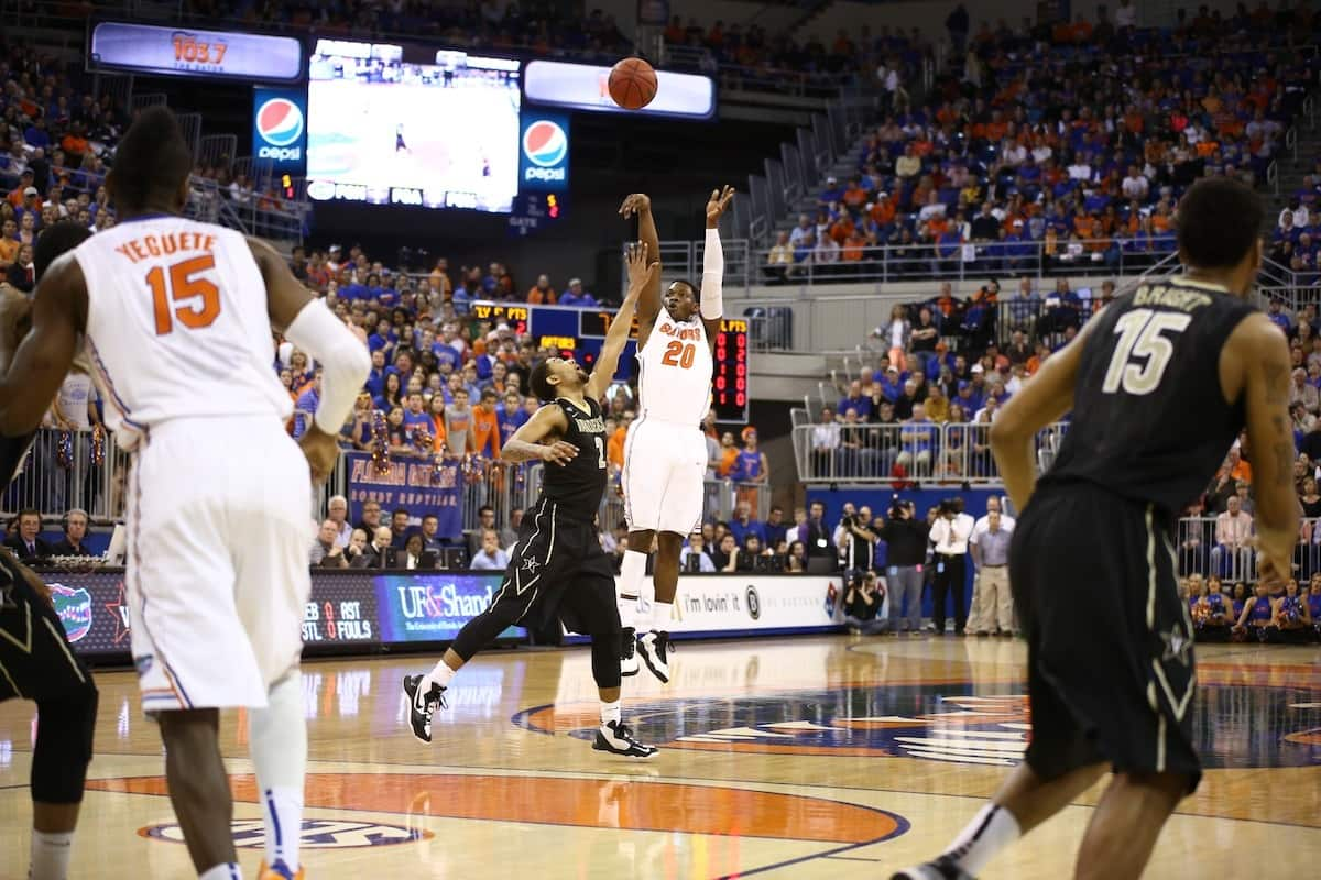 Michael Frazier's three 3-pointers in the second half helped elevate the Gators past Richmond / Gator Country photo by Curtiss Bryant