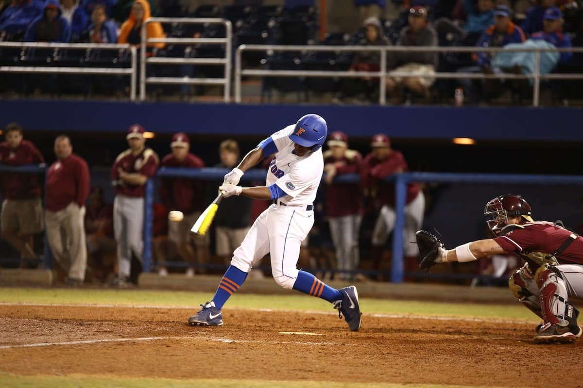 Florida Gators' baseball player Josh Tobias. \Gator Country photo by Curtiss Bryant.