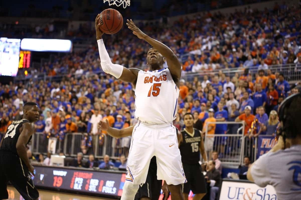 Florida Gators Will Yeguete during Florida's 66-40 win over the Vanderbilt Commodores. \Gator Country photo by Curtiss Bryant.