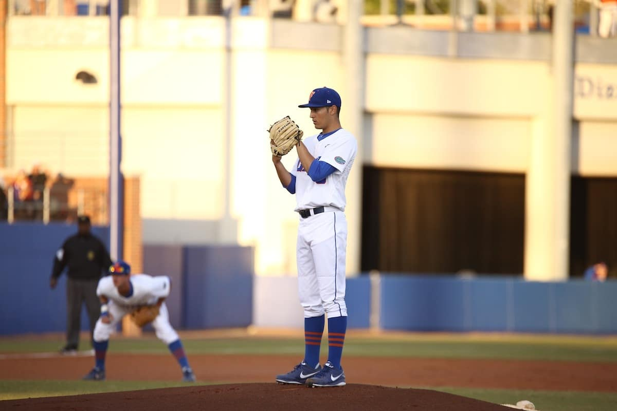 Florida Gators baseball pitcher Danny Young during their 4-1 loss to Florida State tuesday night in Gainesville. \Gator Country photo by Curtiss Bryant