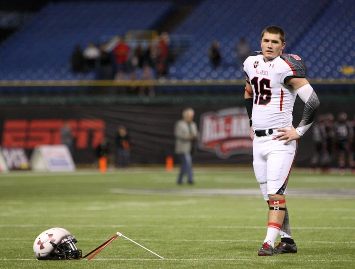 Atlanta (Marist HS) kicker Austin Hardin warms up before the Under Armour All America game on Thursday, January 5, 2012 at Tropicana Field in St. Petersburg, Fla. / Gator Country photo by Tim Casey