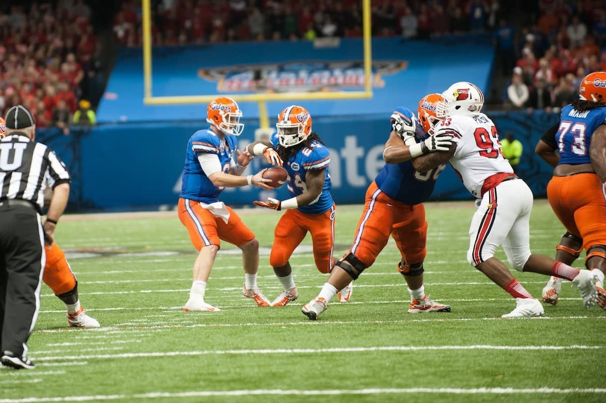 Florida Matt Jones during the Gators' 33-23 loss against the Louisville Cardinals Wednesday January 2, 2013 at the Mercedes-Benz Superdome in New Orleans, LA. / Gator Country photo by Saj Guevara