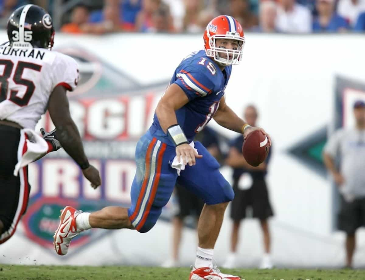 Tim Tebow during the second half of the Gators' 41-17 win against the Georgia Bulldogs on Saturday, October 31, 2009 at Jacksonville Municipal Stadium in Jacksonville, Fla. / Gator Country photo by Tim Casey