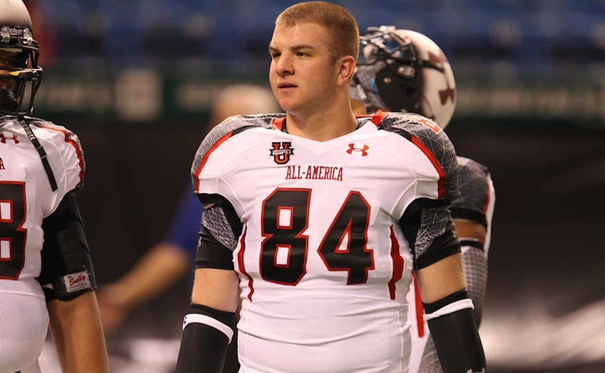 Warminster, Pa. (Archbishop Wood HS) tight end Colin Thompson talks with a teammate before the Under Armour All America game on Thursday, January 5, 2012 at Tropicana Field in St. Petersburg, Fla. / Gator Country photo by Andy Gregory