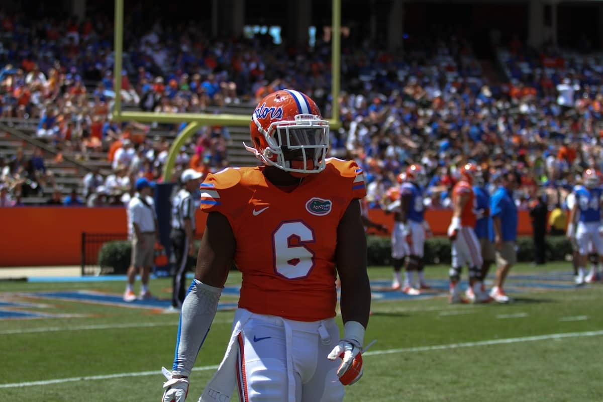 Dante Fowler Jr. during the Orange and Blue Debut. \Gator Country photo by Wes Hall.