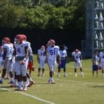 Florida Gator defensive line during Spring practice. \Gator Country photo by Wes Hall.