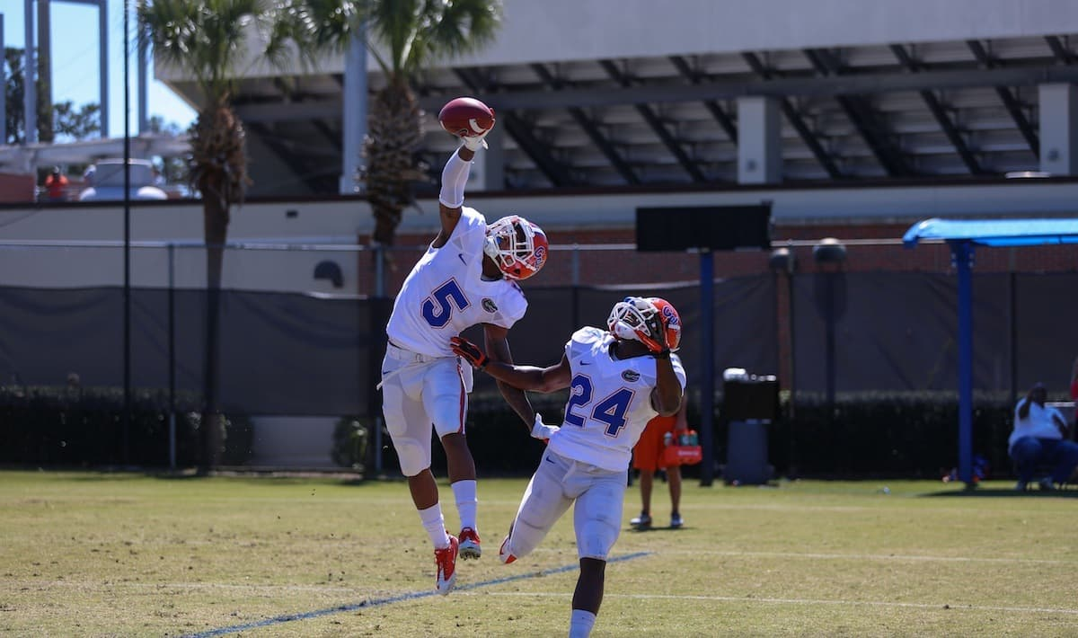 Marcus Roberson makes an athletic play in spring practice. /Gator Country photo by Wes Hall.