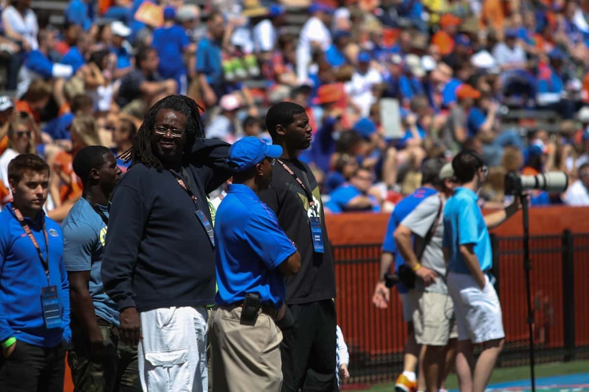 David Sharpe at the Orange and Blue game Saturday. Photo by Wes Hall.